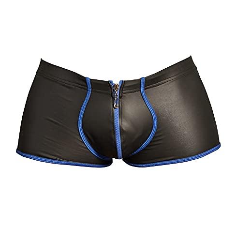 Orion Herren Pants - Enge Boxershorts mit Reißverschluss vorne, Unterwäsche in Matt-Look mit Kontrastfarben, schwarz blau (S)