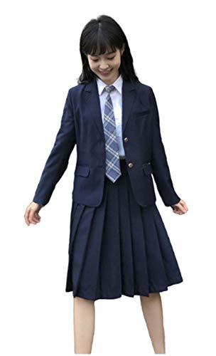Yunbei Womens High School Girl Sailor Uniform JK Uniform Lattice Dress Japanese Blazer Skirt (XL, B)