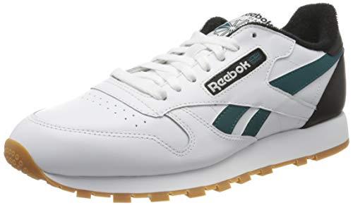 Reebok Herren Cl Leather Mu Gymnastics Shoe, White/Black/Heritage Teal, 45.5 EU