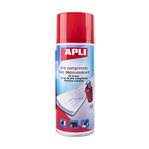 APLI 11307 - Aire comprimido para la limpieza en seco 400 ml. Ideal para teclados, ordenadores y dispositivos electrónicos