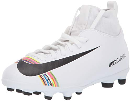 Nike Jungen Unisex-Kinder Jr Superfly 6 Club Fg/mg Futsalschuhe, Weiß (White/Black/White 000), 33.5 EU