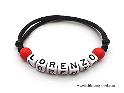 Bracelet personnalisé LORENZO avec prénom, message, logo, surnom (réversible) pour homme, femme, enfant, bebe, nouveau-né