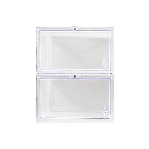 JIA Xing Transparent Acryl stapelbare zusammenklappbarer Turnschuhe Box Sneaker Display-Kasten-Speicher-Kabinett for Schränke und Konsolen Cabinet Racks (3 Farben) schuhbox (Color : Clear)