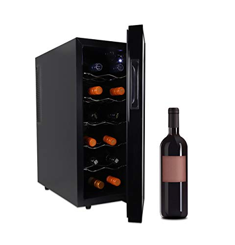 Koolatron Urban Series 12 Bottle Wine Cooler, Thermoelectric Wine Fridge, 1 cu. ft. Freestanding Wine Cellar for Home Bar, Small Kitchen, Apartment, Condo, Cottage, RV