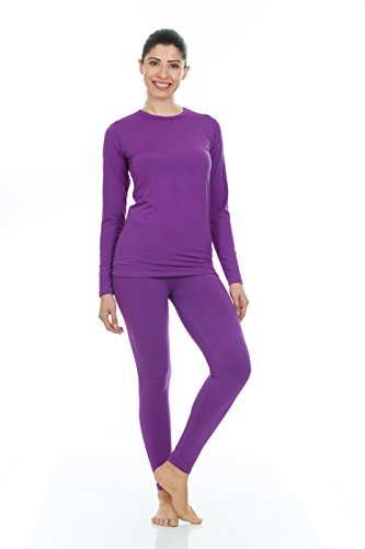 Thermajane Women's Ultra Soft Thermal Underwear Long Johns Set with Fleece Lined (X-Large, Purple)