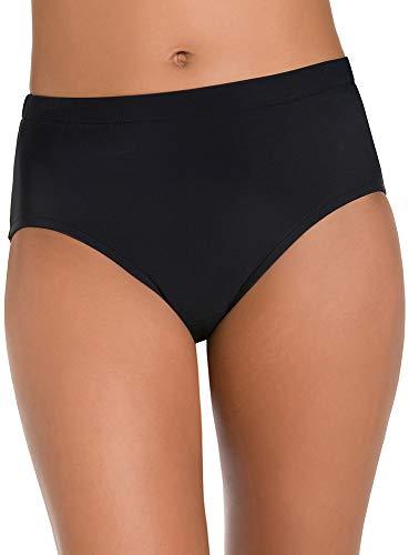 Penbrooke Women's Plus Size Swimwear Solid Basic Tummy Control Full Coverage Brief Swim Bottom, Black, 24W