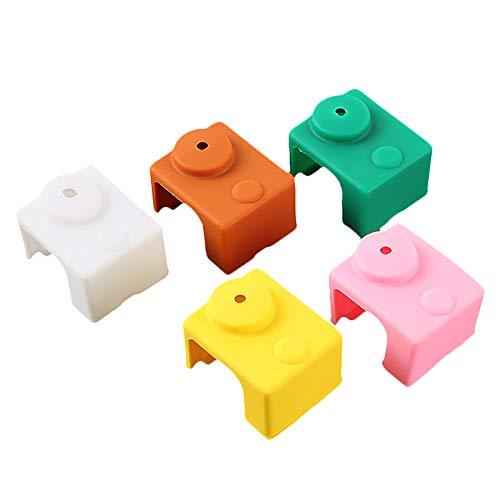 Nrpfell 3D Printer Accessories for -V6 High Temperature Aluminum Block Silicone Case 5PCS (Random Colors)