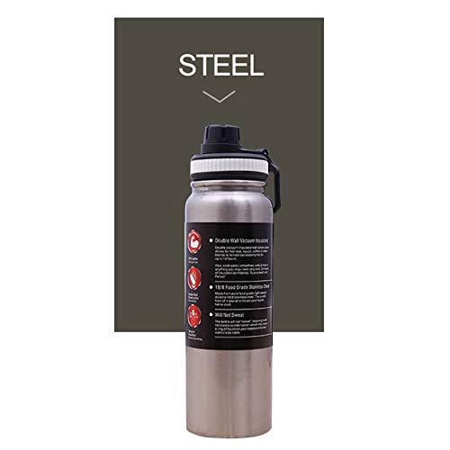 Blankspace Botella de agua deportiva de gran capacidad de acero inoxidable, transparente, 600 ml