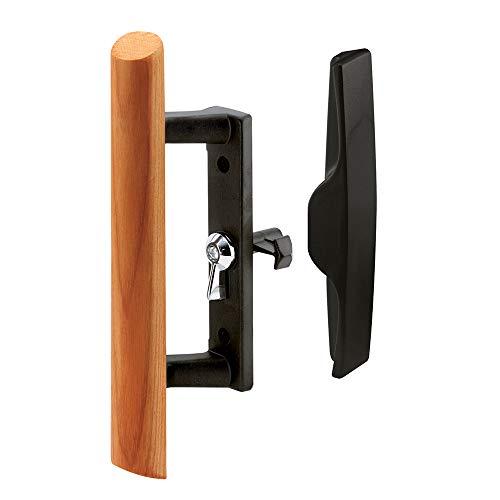 Prime-Line Products C 1095 Sliding Glass Door Handle Set, 3-1/2 in., Diecast & Wood, Black, Hook Style, Internal Lock