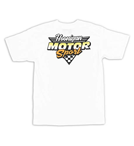 Hoonigan HNGN Motorsport Short Sleeve - Best Cool Graphic Tee for Mechanics, Gear-Heads, Car Truck Motorcycle Enthusiasts, Drifting, Race-Car Sports Fans (White, Large)