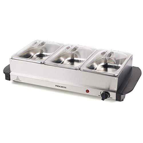 PROGRESS EK3664P EK3664P-Calentador de Alimentos portátil de Tres, 3 sartenes de 1,5 litros, 200 W, Acero Inoxidable