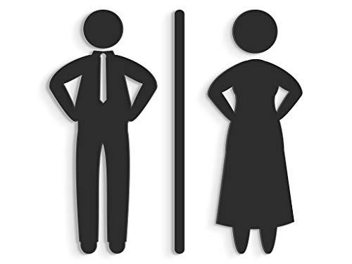 15 cm Set adh/ésif Design Toilette SA118 Autocollants pour Les WC Restroom 3DP Signs Blanc Plaque signal/étique Toilettes en Relief Plaques Toilette Homme Femme handicap/é Douche Salle de Bains