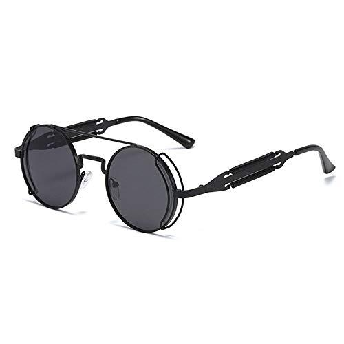 Hombres Retro Gafas De Sol Gafas De Sol Negras A La Moda, Gafas De Sol Steampunk Vintage para Hombre, Lentes Rojas Redondas, Gafas De Sol Punk, Estilo Gótico De Metal Negro para Mujer, Somb