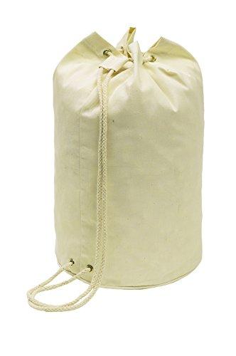 Matchsack Baumwolle Seesack Beige mit Kordelzug 45cm als Rucksack oder Umhängetasche Baumwolle