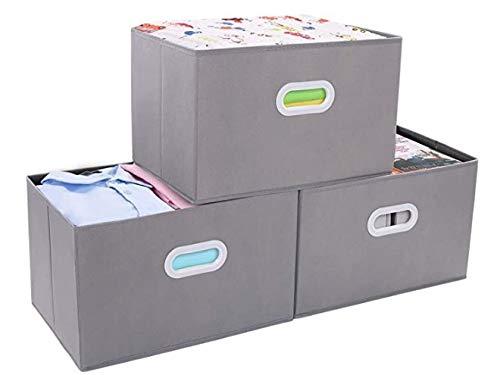 Duel faltbare Aufbewahrungsbox, faltbarer Stoffaufbewahrungskorb mit Griff, für Kleiderschrank, Schrank (hellgrau)