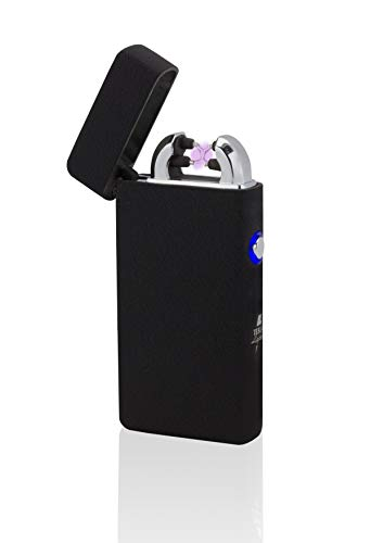 TESLA Lighter TESLA Lighter T08 Lichtbogen Feuerzeug, Plasma Double-Arc, elektronisch wiederaufladbar per USB, ohne Gas und Benzin, mit Ladekabel, in edler Geschenkverpackung, Sonderfarben Structured-Schwarz