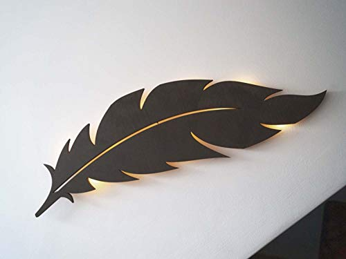 kh Teile Wanddeko Vogel Feder Holz Natur zum Hängen Wandbild mit LED Beleuchtung, Wandschmuck Wanddeko Wohnzimmer, Schlafzimmer, Esszimmer, Flur, Küche Hotel Zimmer und Bad