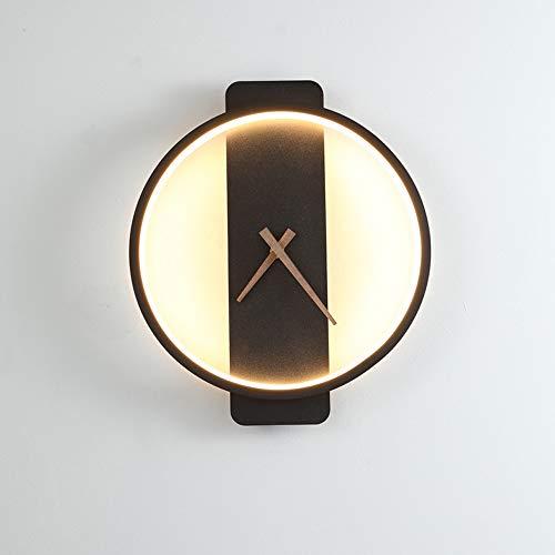 LINLUI Wandleuchte Nachttisch LED, Moderne 18W Uhr Wandlampe, Minimalistischen Acryl Metall Wandbeleuchtung, für Schlafzimmer Kinderzimmer Wohnzimmer Innen Korridor