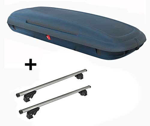 VDP Dachbox VDPCA480 480Ltr carbonlook + Dachträger/Relingträger LION2 kompatibel mit Nissan X-Trail (T32) (5 Türer) ab 13
