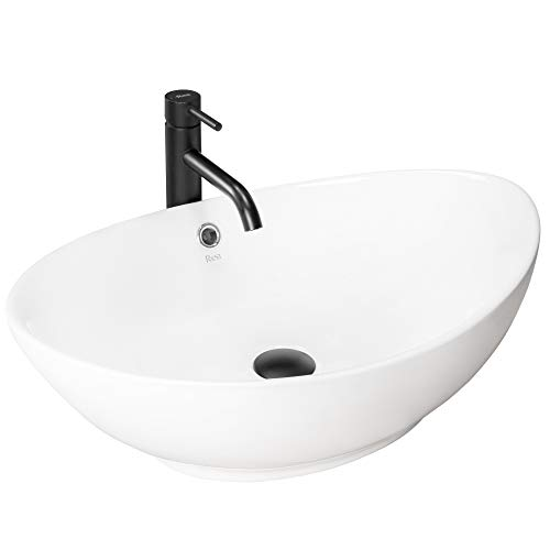 VBChome Waschbecken 59 x 38 Keramik Oval Waschtisch Handwaschbecken AUFSATZWASCHBECKEN WASCHSCHALE GÄSTE WC