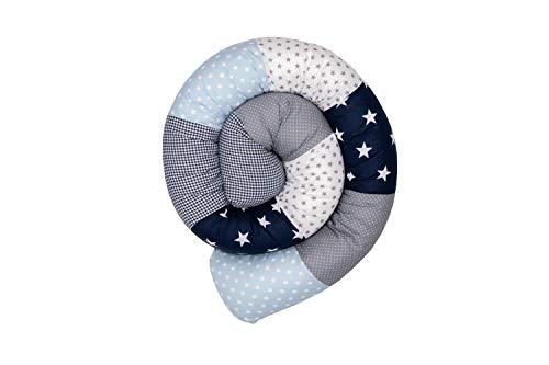 ULLENBOOM ® Baby Bettschlange 200x13 cm Blau Hellblau Grau (Made in EU) - Nestchenschlange für das Babybett, Bezug: 100% ÖkoTex Baumwolle, Bettrolle zur Bettumrandung im Kinderbett, Motiv: Sterne