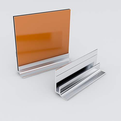 Küchenrückwand-Profilsystem Sockelprofil Aluprofil Aluminiumprofil für 3mm Duschrückwand Küchenspiegel 300cm silber