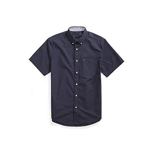 Tommy Hilfiger Men's Adaptive Magnetic Short Sleeve Button Shirt Slim Fit, Navy blazer, Small