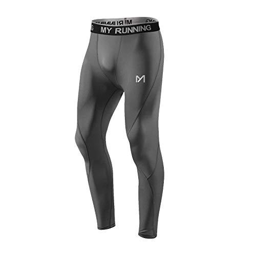 MEETYOO Leggings Hombre, Pantalón de Compresión Secado Rápido Pantalones Deporte Mallas Largas para Running Fitness Yoga (Gris-2, S)