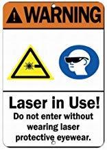 Laser in Gebrauch. Warnschild für Schutzbrillen und Warnschilder für Privateigentum, aus Metall, 20,3 x 30,5 cm