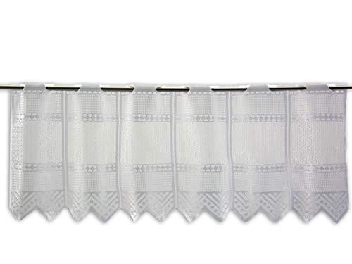 Albani Scheibengardine Jacquard weiß Höhe 30/45/60/90cm | Breite der Gardine frei wählbar in 13,5cm Schritten | Gardine | Panneaux (Höhe 30cm)