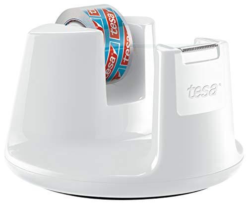 tesafilm Tischabroller Compact - Klebebandspender mit Anti-Rutsch-Boden für sicheren Halt - Mit transparenter Kleberolle 10 m x 15 mm - Weiß