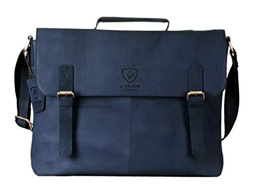 J WILSON London - Designer Genuine Real Distressed Vintage Hunter Leather 15' Laptop Handmade Unisex Crossover Shoulder Messenger Briefcase Bag (Distressed Dark Blue)