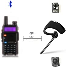 HB-6A Walkie Talkie Bluetooth PTT earpiece Handfree Wireless Headphone Headset Mic Compatible with BaoFeng UV-82 UV-5R BF-888S/ TYT/Kenwood Two Way Radio
