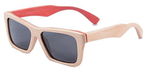 SHINU Mano Retro Vetri Degli Occhiali da Sole di Legno D'epoca di Legno Polarizzate con Bamboo Frame e Temple-Z68020