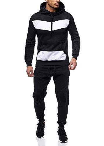 Violento Herren Jogginganzug Jogging Zip Hoodie Hose Stripe Sportanzug Fitness Schwarz/Weiß XL