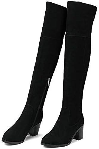 HOESCZS 2019 Femmes Au Genou Genou Haute Bottes Zipper Conception De Mode Bout Rond à Talons Carrés Haute Qualité Bottes Femmes Taille 34-39  pratique