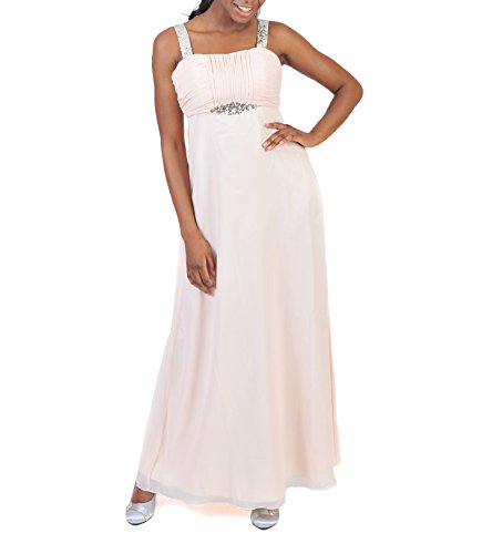 Astrapahl Damen Cocktail Kleid mit Pailletten, Maxi, Einfarbig, Gr. 36, Beige (Aprikot)