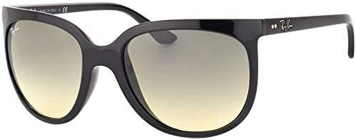 Ray-Ban RB4126 Cats 1000 Cat Eye Sunglasses, BLACK Frame CRYSTAL GREY GRADIENT Lenses 57mm Non-Polarized