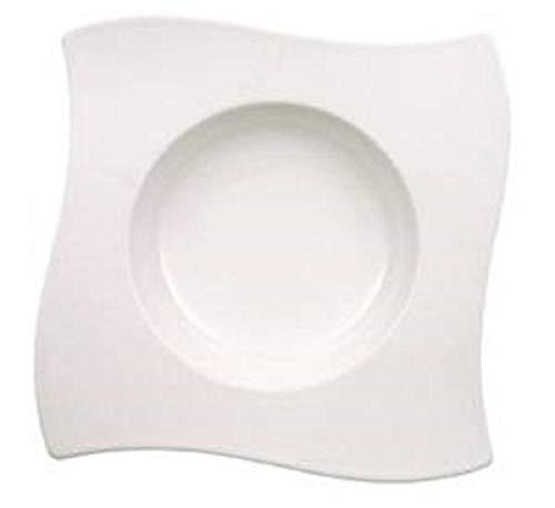 Villeroy & Boch NewWave Suppenteller, Speiseteller, für Suppen/Eintöpfe, rechteckig, Premium Porzellan, spülmaschinen- und mikrowellengeeignet, weiß, 24 cm