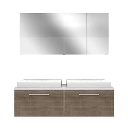Badmöbel Set City 200 V1 Eiche hell, Badezimmermöbel, Waschtisch 160cm, Beleuchtung Spiegelschrank:JA mit 2x 5W LED-Strahler