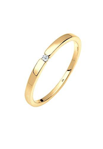 DIAMORE Ring Damen Verlobungsring Klassiker mit Diamant (0.02 ct.) in 925 Sterling Silber