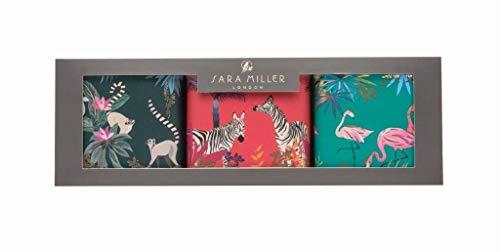 Sara Miller Tahiti Set mit 3 quadratischen Vorratsdosen Lemur Flamingo Zebra