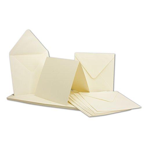 20 Falt-Karten Sets Quadratisch Creme-Weiß Doppel-Karte 13,5 x 13,5 cm - 240 g/m² mit Brief-Umschlägen 14 x 14 cm 120 g/m² Spitzklappe Nassklebung
