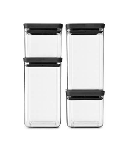Brabantia Tasty + Set de 4 botes apilables cuadrados de plástico transparente, 2 x 0.7 l, 2 x 1.6 l, tapa dark grey