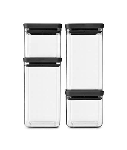 Brabantia Tasty+ Set 4 Stackable Square Canister, Dark Grey