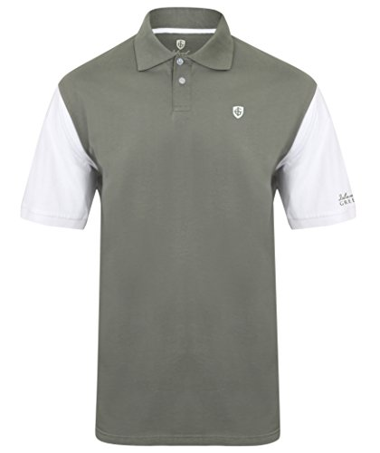 Island Green Golf IGTS1646 Mens Cotton Contrast Sleeve Polo Shirt Sports Top Charcoal Large