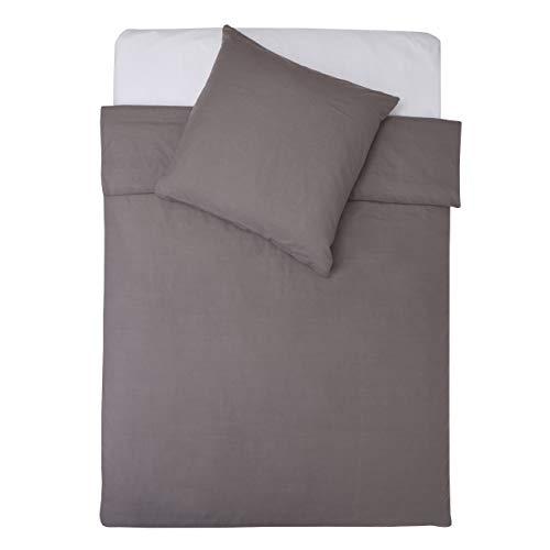 Lumaland Premium Bettwäsche Everyday Ganzjahres Bettbezug mit YKK Reißverschluss 135x200cm Kissenbezug 80x80cm Anthrazit