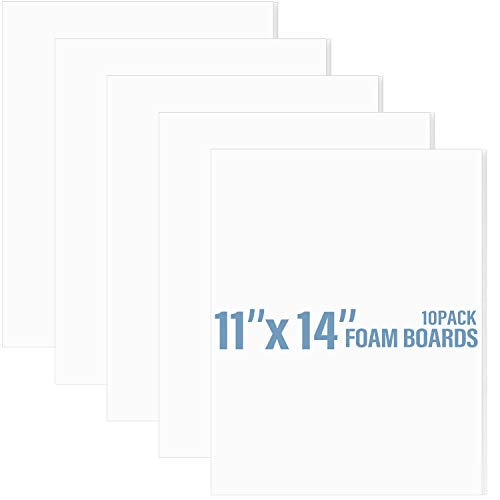 """Golden State Art, Pack of 10, 1/8"""" Thick, 11x14 White Foam Core Backing Boards (11x14, White)"""