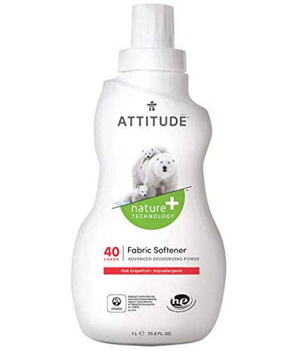 ATTITUDE Hypoallergenic Fabric Softener, Pink Grapefruit, 33.8 Fluid Ounce, 40 Loads