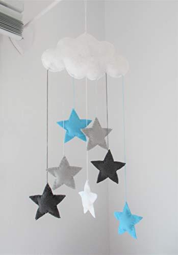 Skandinavisches Handgemacht Baby Mobile, Filz, Wolke, Kinderzimmer Dekor grau helltürkis weiß Sterne